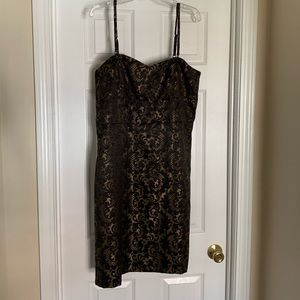 NWT black & gold dress with removable straps